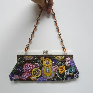 multicolor embroidered beaded clutch / evening bag